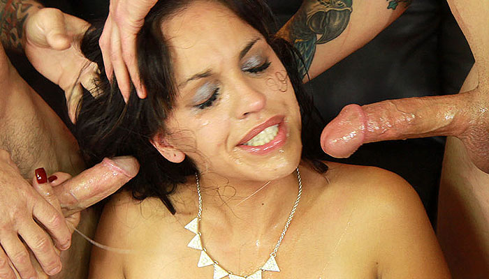 Latina Throats Christy Cruz takes on two huge cocks